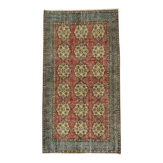 Vintage Floral Design Turkish Rug - 3′9″ × 6′11″
