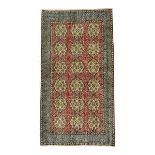 Vintage Floral Design Turkish Rug - 3′9″ × 6′11″