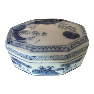 Vintage Asian Blue and White Ceramic Trinket Box