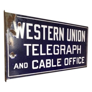 Antique Western Union Porcelain Flange Sign