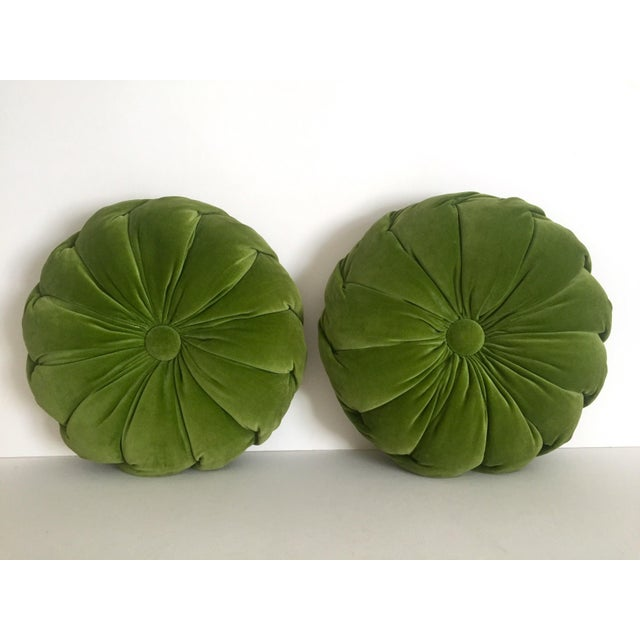 Vintage Mid Century Modern Olive Green Velvet Tufted Round Tablet Pillows - a Pair Chairish