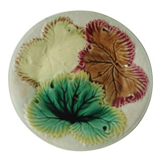 English Majolica Leaves Plate