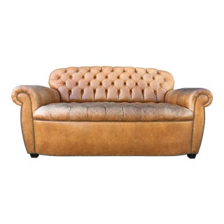 Vintage Tufted Aged Leather Sofa