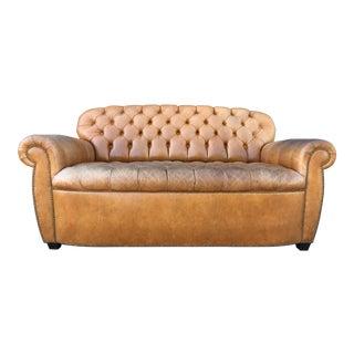 Vintage Tufted Aged Leather Sofa