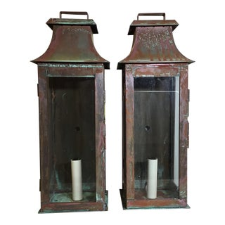 Copper Wall Hanging Lanterns - A Pair