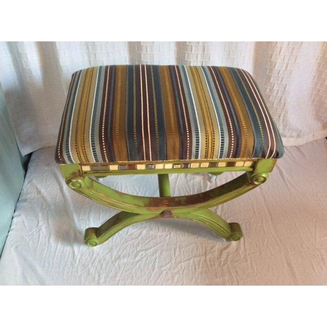Image of French Style Antique Multi-Textured Ottoman