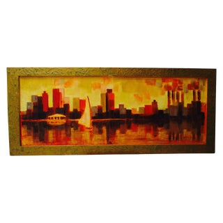 1960's Mid Century Modern Cityscape Painting Eames