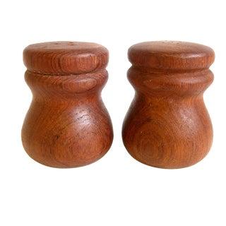 Danish Modern Round Teak Salt & Pepper Shakers - A Pair