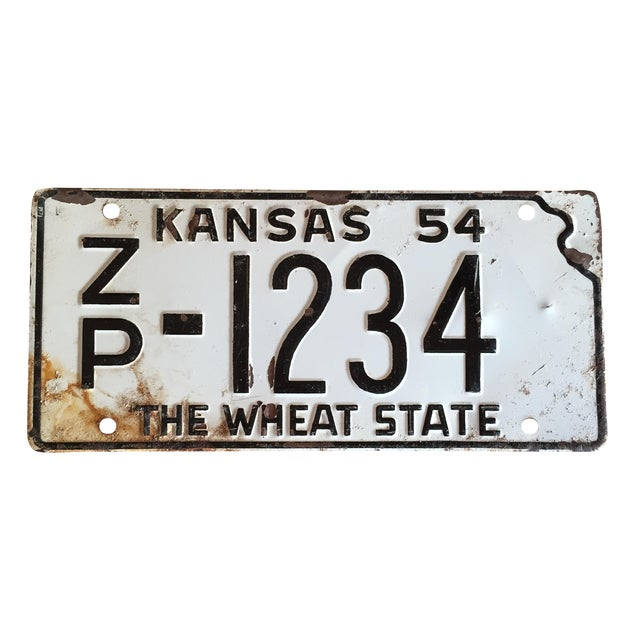 Vintage 1954 Kansas Motorcycle License Plate - Image 1 of 3