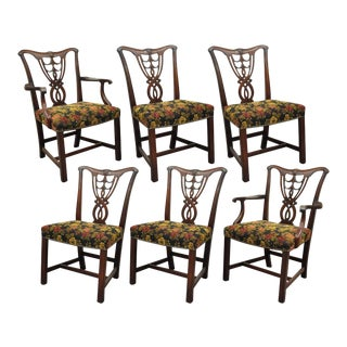 Vintage Chippendale Mahogany Dining Room Chairs - Set of 6