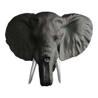 Wall Charmers Faux Head Bust Elephant Mini in Black + Silver Tusk