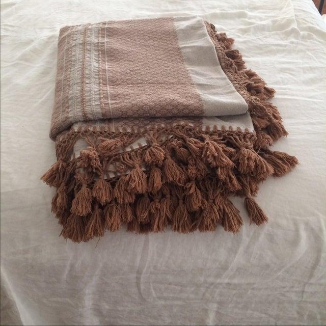 Brown Mexican Tassel Blanket/Throw - Image 2 of 6