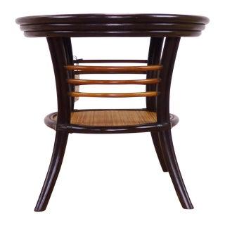 Palecek Rattan & Rosewood Side Table