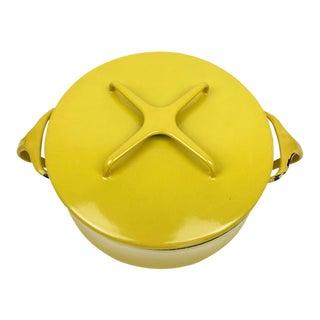 Vintage Modern Kobenstyle Dansk Yellow Enamel Pot