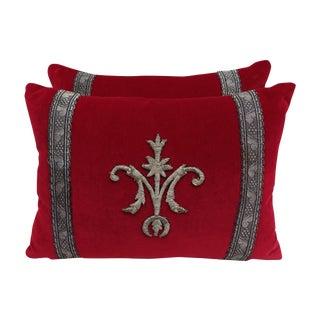 Custom Appliqued Red Velvet Pillows - A Pair
