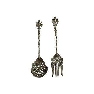 Silver Cherub Fork & Spoon Serving Set - A Pair