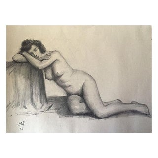 J. Mason Reeves Original Nude Pencil Drawing 1962