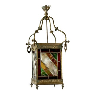 19th Century English Leaded Glass & Brass Lantern