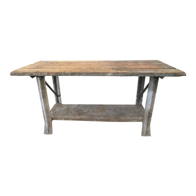 Industrial Plank Top Work Table - Image 1 of 7