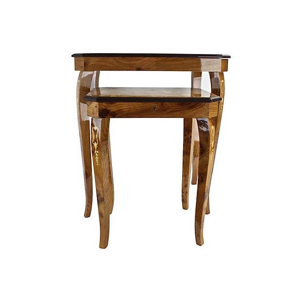 Italian Marquetry Nesting Tables - Set of 2 - Image 4 of 6