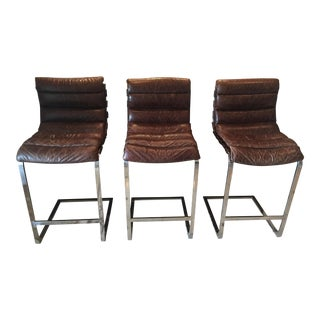 Restoration Hardware Oviedo Leather Bar Stool - Set of 3