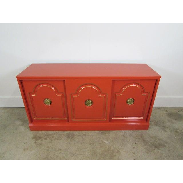 Dorthy Draper Style Persimmon Orange Media Cabinet - Image 2 of 8