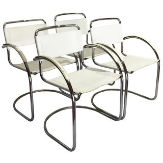 Vintage Italian Leather & Chrome Cantilever Dining Chairs - Set of 4