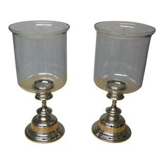 Silver Plate & Glass Hurricanes - A Pair