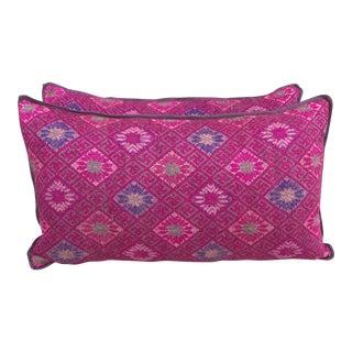 Pink Woven Tribal Pillows-Hmong - A Pair