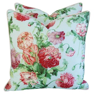 Desginer Brunschwig & Fils Poppies Pillows - Pair