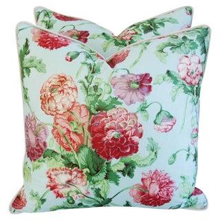 Desginer Brunschwig & Fils Poppies Pillows - Pair