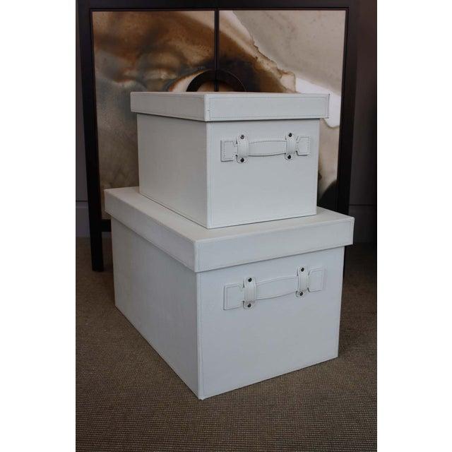 White Stacking Storage Boxes - Image 2 of 4