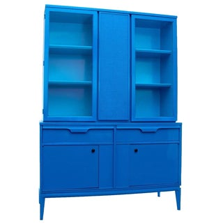 Mid-Century Hutch in Blue Lacquer