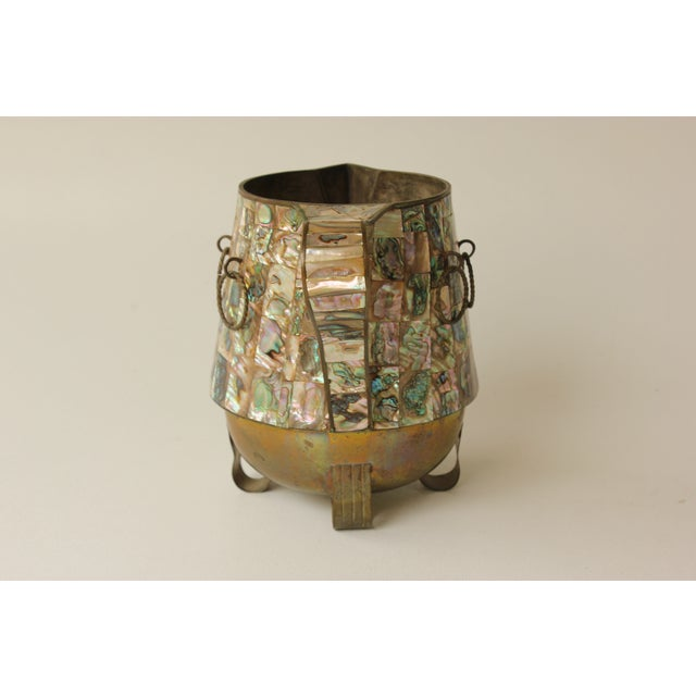 Salvador Teran Abalone Shell & Brass Pitcher - Image 5 of 7