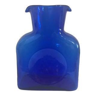 Blenko Vintage Cobalt Blue Double Spout Glass Carafe