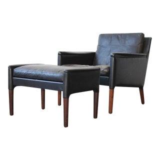 Kurt Østervig Leather Lounge Chair and Ottoman