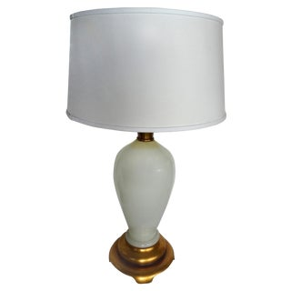 Opaline Glass Table Lamp With A Gilt-Wood Base