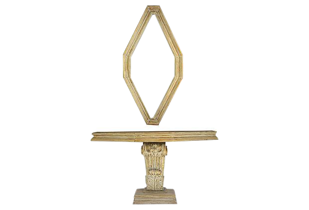 Gold Leaf Mid Century Entry Table U0026 Mirror