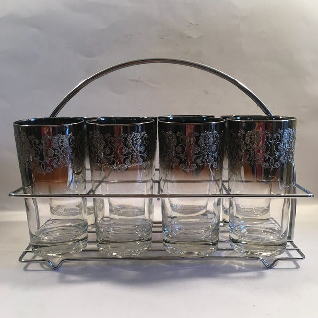 Image of Queen's Lusterware Silver Fade Tumblers With Caddy