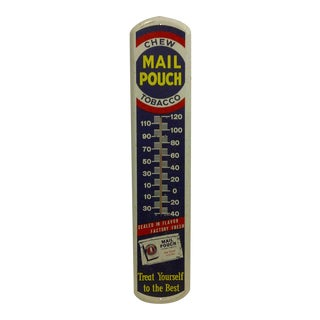 "Vintage Metal ""Mail Pouch"" Advertising Thermometer"