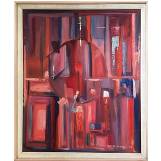 1959 Vintage Mid-Century Modern Abstract Geometric Oil Painting Signed