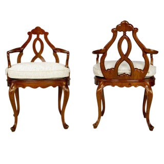 Pair Italian Biedermeier Hand-Carved Fruitwood Arm Chairs