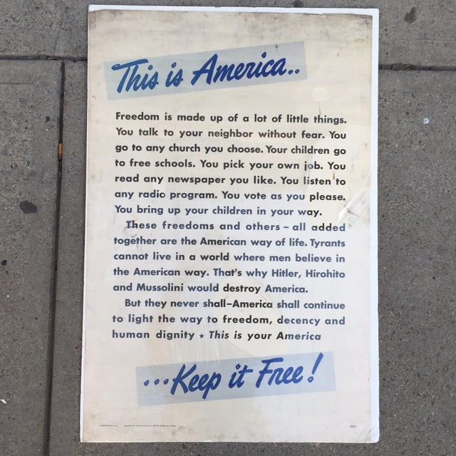 Image of Vintage World War II Patriotic Poster