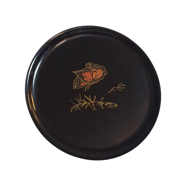 Image of Couroc Vintage Black Butterfly Tray
