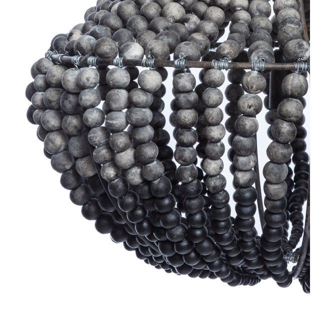 South African Ombre Grey Clay Beaded Chandelier 2