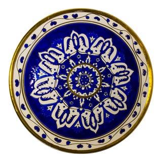 Vintage Dakas Keramik Plate in Rodos Greece Aegean Blue and Gold