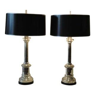 Pair of Antique Mercury Glass Empire Style Lamps by Warren Kessler