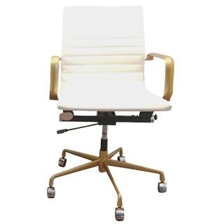 Eames-Style White and Gold Desk Chair