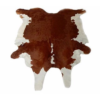 "White & Brown Cow Hide Rug - 7'8"" X 8'10"""