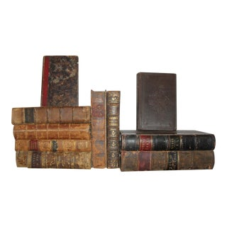 Antique Distressed Leather Books - Set of 10